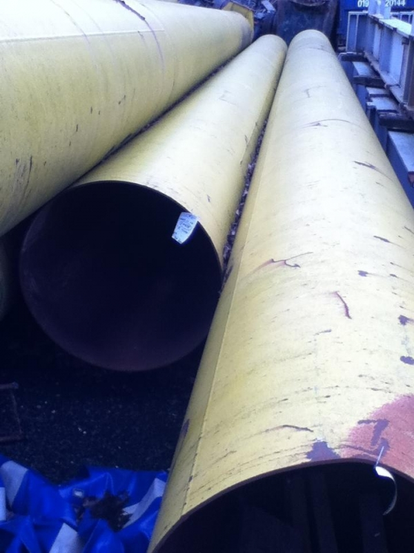 1168mm Dia x 10.5mm Thickness x 18.500mtrs Long Yellow Steel Tubes / Steel Drainage Pipes / Piling Tubes