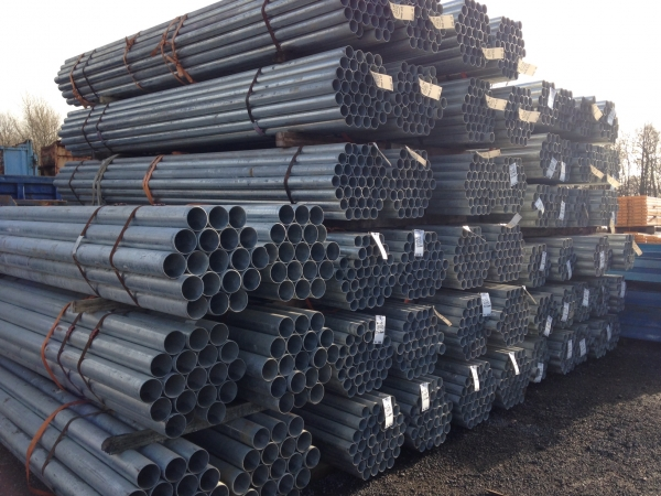 4.000 Mtr Lengths of 88.9 mm x  3 mm  Clean Galvanised Steel Tube Drainage - Water Pipe
