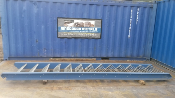 Blue With Galvanised Floor Forge Treads  Used Mezzanine Steel Staircase 3.080mtr Total Rise High 790mm Internal Width