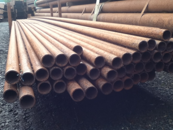7.500 Mtr Lengths of 48.3mm x   4.0mm Unused Stock Rusty Steel Tube - Chs Drainage - Water Pipe