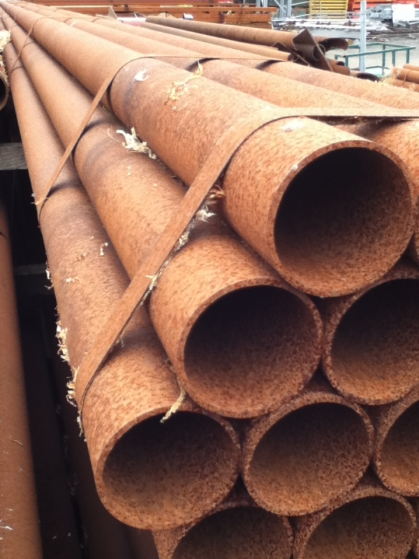 12.000 Mtr Lengths of 88.9mm x   4.0mm Unused Stock Rusty Steel Tube - Chs Drainage - Water Pipe