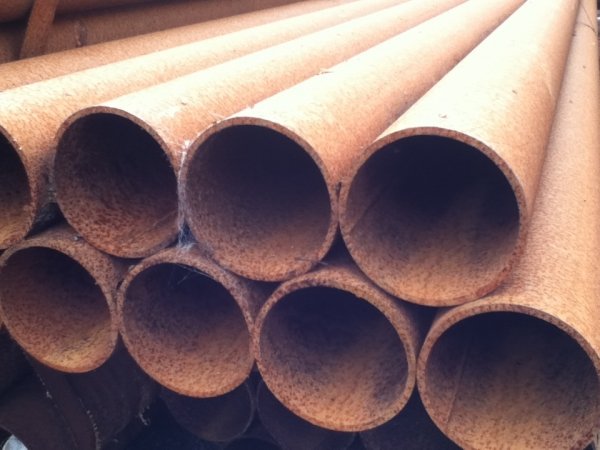 10.200 Mtr Lengths of 88.9mm x   4.0mm Unused Stock Rusty Steel Tube - Chs Drainage - Water Pipe