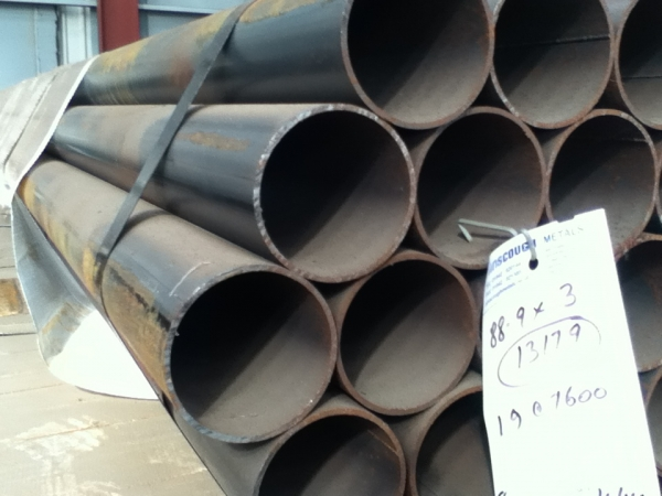 7.600 Mtr Lengths of 88.9mm x   3mm Unused Steel Tube - Chs Drainage - Water Pipe