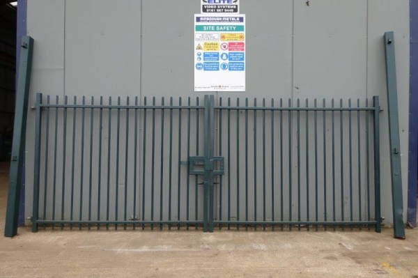 Used Green Double Gates 5.650 Mtr O/a Width, 2.210 Mtr High O/a C/w Posts