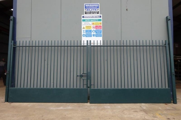 Used Green Double Gates 6.300 Mtr O/a Width, 2.470 Mtr High O/a C/w Posts