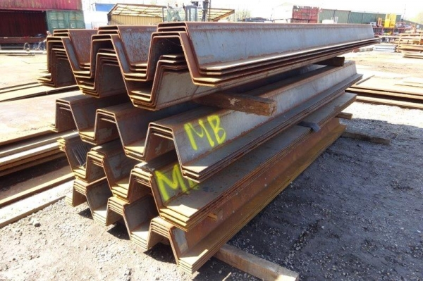 Job Lot of New Lapped Sheet Piles 10.566 Tonnes Total 1.300/1.435mtr Wide x 3.820/4.500mtr Long x 6mm- Steel Piling- Lapped Piles - Steel Shoring Piles - Retaining Wall - Piling Sheets