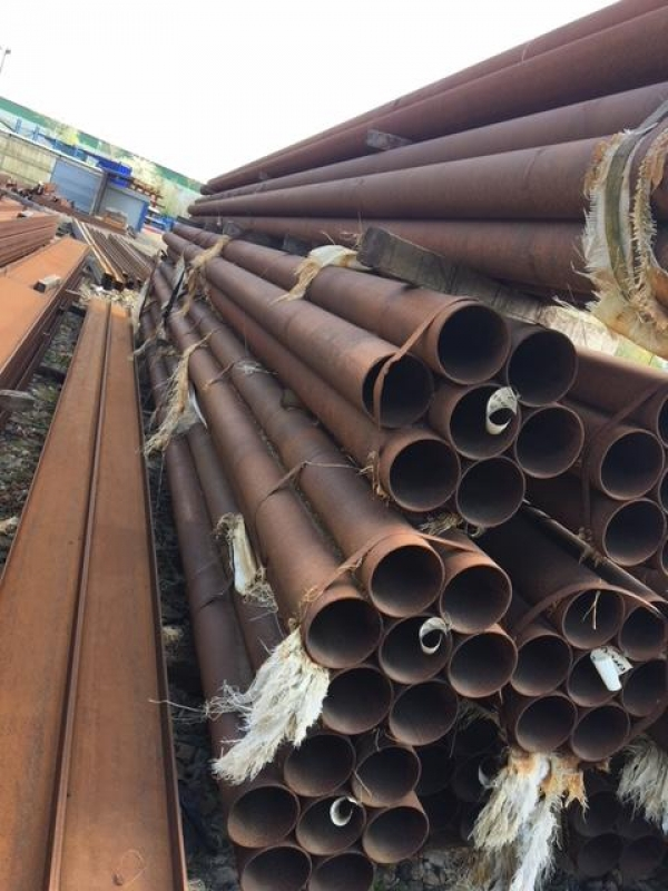 10.500 Mtr Lengths of 193.7mm x  6.3mm  Unused Varying Atmospheric Rust Stock Rusty Steel Tube - Chs - Steel Pipe Drainage - Water Pipe