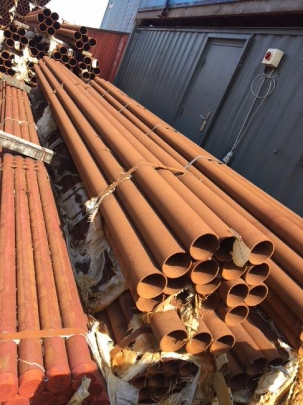 11.000 Mtrs Lengths of 168.3mm x  5mm  Unused  Stock Rusty Steel Tube - Chs - Steel Pipe Drainage - Water Pipe