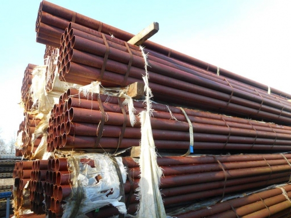 6.400 Mtrs Lengths of 114.3mm x  4.5mm  Unused Steel Tube- Shotblasted & Painted - Chs - Steel Pipe - Stored Outside so Stock Rusty Drainage - Water Pipe