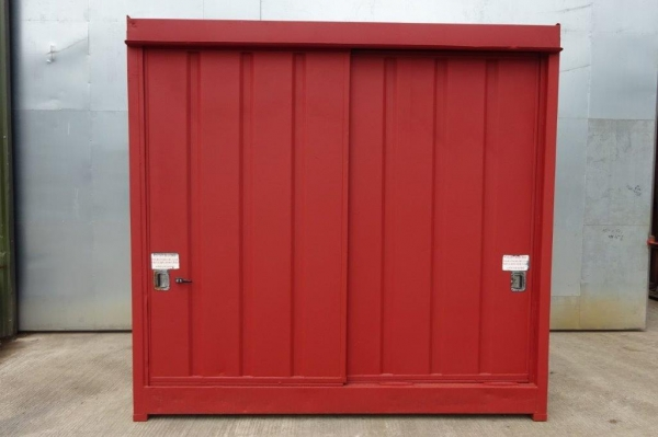 Steel Paint Store/container 3.000mtr Wide  x 1.500mtr Deep, Painted Red, Used
