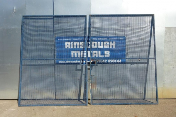 Used Blue Polmil Double Gates 4.350 Mtr O/a Width, 2.970 Mtr High O/a no Posts