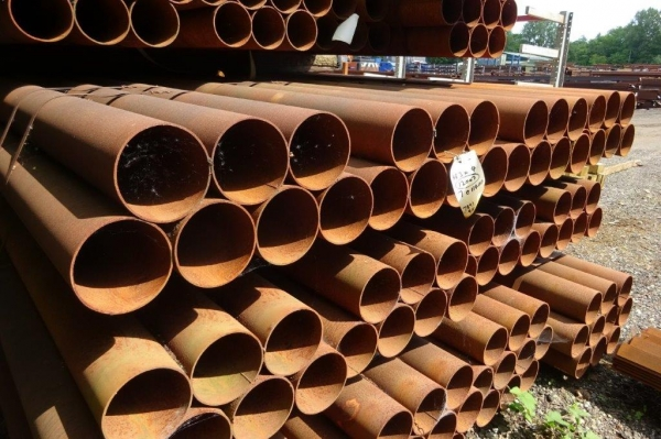 11.400 Mtrs Lengths of 168.3mm x  4mm  Unused  Stock Rusty Steel Tube - Chs - Steel Pipe Drainage - Water Pipe