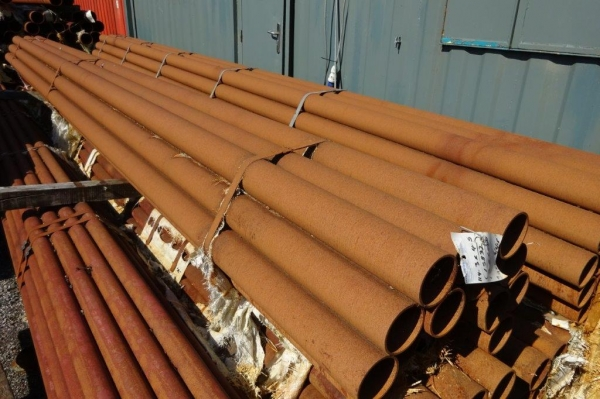 6.400 Mtrs Lengths of 114.3mm x  4.5mm  Unused  Stock Rusty Steel Tube - Chs - Steel Pipe Drainage - Water Pipe