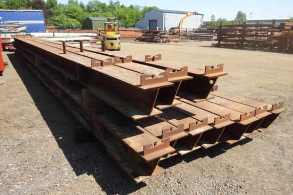 305mm x 305mm x 137kg/m Used Steel Column 15.200mtr Long C/w Attachments, Holes & Cleats, Joined at 11.700mtr