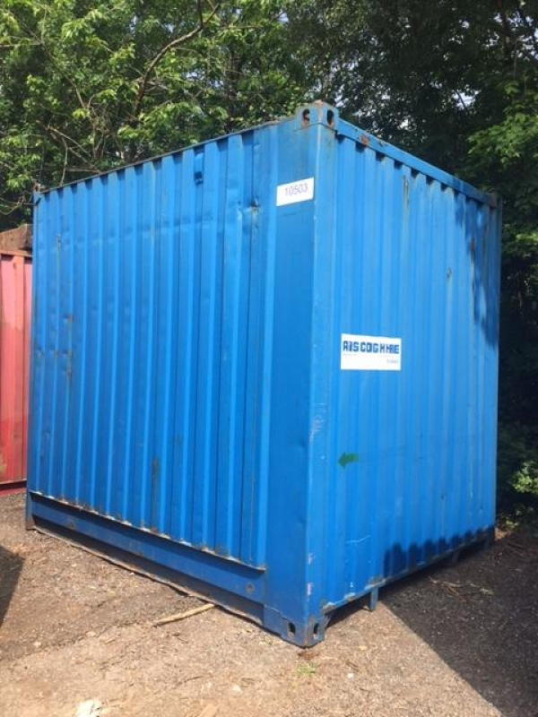 10ft Long 8ft Wide Blue Steel Cube Storage Container Second Hand - Store
