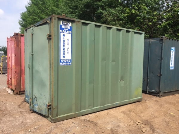 12ft Long 8ft Wide Green Steel Storage Container Second Hand, - Store
