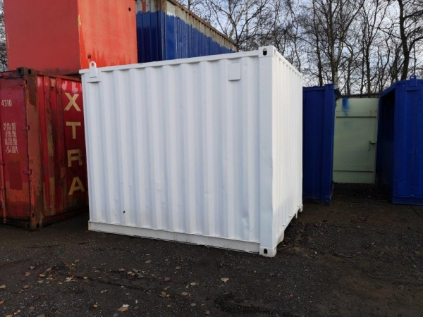10 ft Long 8 ft Wide White Refurbished Steel Storage Container With Pedestrian Access Door - Store