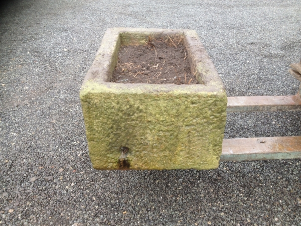 Reclaimed 1.00mtr Wide 680mm Deep Rectangular Stone Trough - Second Hand Stone Trough Planter - Garden Stone Trough