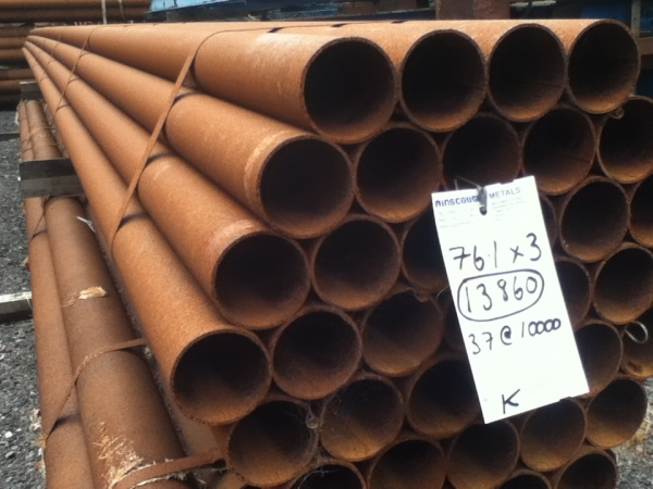 10.000 Mtr Lengths of 76.1mm x  3.0mm  Unused Varying Atmospheric Rust - Stock Rusty Steel Tube - Chs - Steel Pipe Drainage - Water Pipe