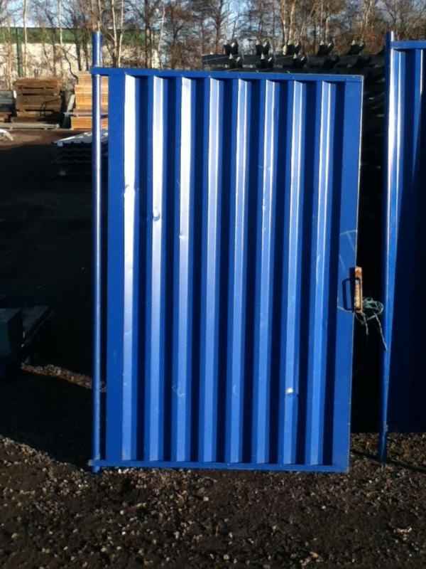 Used 1.225mtr O/a Wide  2.000mtr O/a High Blue Solid Temporary Fencing  Steel Gate - Security Gate - Site Gate - Yard Gate